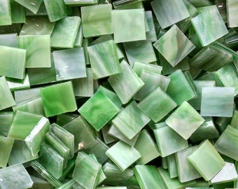 Rainforest Green Stained Glass Mosaic Tiles