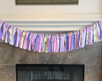 Easter Decorations - Bunny Party Decorations - Spring Party Decorations - Easter Mantle Decor - Spring Birthday Party - Easter Fabric Banner