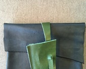 Leather Small Clutch in Navy Blue with Hunter Green Accent/Closure
