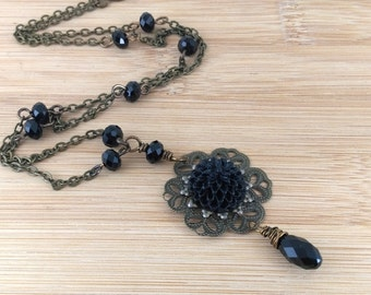Black Flower Necklace. Gothic Necklace Antique Brass. Black Crystal Necklace. Gothic Jewelry.Chrysanthemum Necklace. Victorian Necklace.