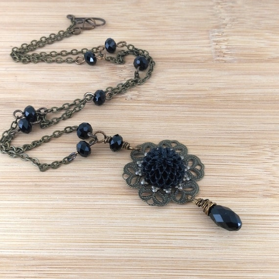 Black Flower Necklace.  Gothic Necklace Antique Brass Black Crystal Necklace. Gothic Jewelry.Chrysanthemum Necklace