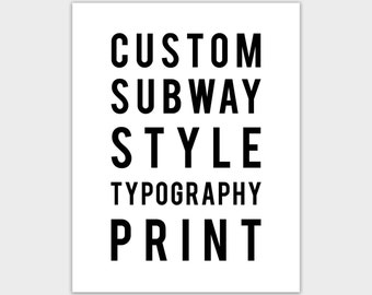 Custom Bus Scroll Style Art Print, Subway, Personalized Typography