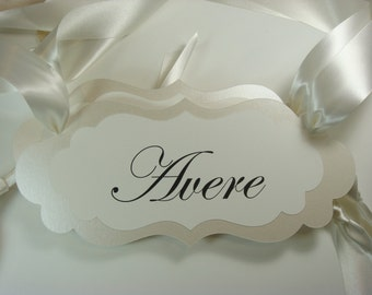 "Avere and Tenere Wedding Chair Signs for the Bride and Groom Chairs  ""Avere"" and ""Tenere"" are Italian for ""To Have"" and  ""To Hold"""