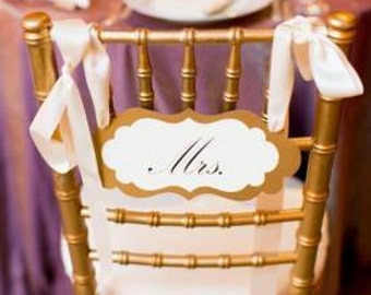 Mr. and Mrs. Wedding Chair Sign Set in my Elegant Vintage Label Design for the Bride and Groom Chairs of Honor