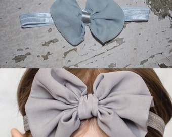 Gray Chiffon Hairbow