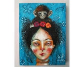 folk art Original girl painting Frida mixed media art painting on wood canvas 8x6 inches - Frida and her monkey