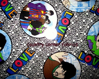 1/2 Yard, BEATLES, Cotton Fabric, Black And White, Circle Toss, beatles fabric, beatles remnant, beatles cotton fabric, beatles scrap
