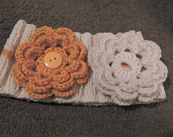 Hand Knit Headband With Interchangeable Crochet Flower  / Young Adult To Adult / Ready To Ship / Holiday Gift