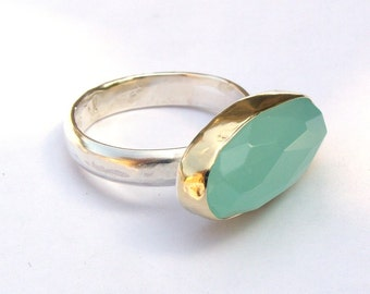 Aquamarine  Ring- 925 Silver sterling and 14k Gold  ring,Gamstone ring,  made to order