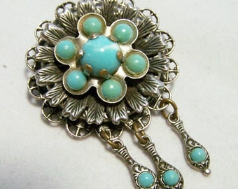 Faux Turquoise Medallion Pin 3 Dangles Silver Tone Setting Vintage Jewelry 716DGZ
