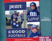 New York Giants Football Photo Christmas Card. Peace Love & Good FOOTBALL. Photo Collage. Football Lovers. by Tipsy Graphics