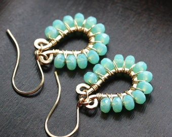 Aqua blue beaded dangle earrings, sea foam green, 14k gold filled, wire wrapped, drop hoop, Czech glass, Mimi Michele Jewelry