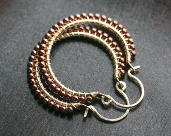 Copper brown beaded hoops, copper colored Toho glass seed beads, 14k gold filled, wire wrapped hoops, beaded hoops, Mimi Michele Jewelry