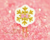 White and Gold Snowflake Paper Clip