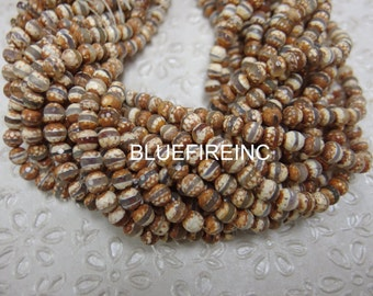 6mm Round Faceted Hand print Tibetan Agate beads in full strand