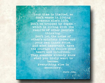 Your Time is Limited - Mounted 12x12 Print - Word Art Prints - Steve Jobs - APPLE Computer - graduation address - cafe mount ready to hang