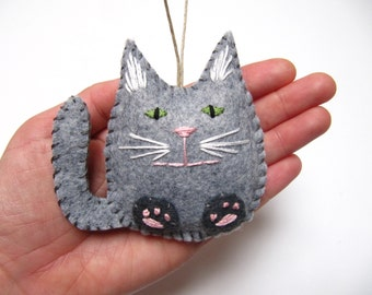 Personalized Cat Christmas Ornament, Grey Tabby Felt Cat Ornament, Custom Cat Ornament, Tabby Cat Ornament