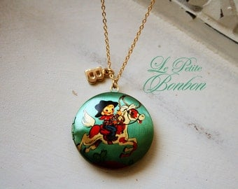 Yeehaa Cowboy kid with horse lasso and initial pictures Locket necklace