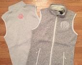 Monogrammed Full-Zip Heathered Fleece Vest, Full Zip Fleece Vest, Heathered Fleece Vest, Monogram Vest, Monogram Fleece