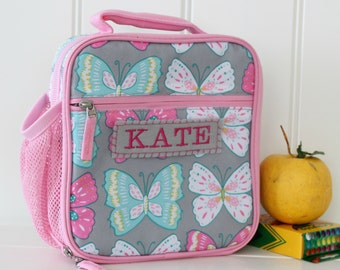 Lunch Bag With Monogram Classic Style Pottery Barn -- Gray/Pink Butterfly