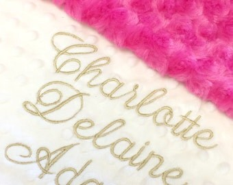 Baby Blanket, Pink Baby Blanket, Hot Pink Minky Baby Blanket, Gold Baby Blanket, Gold Pink Nursery, Shower Gift, Personalized Baby Blanket