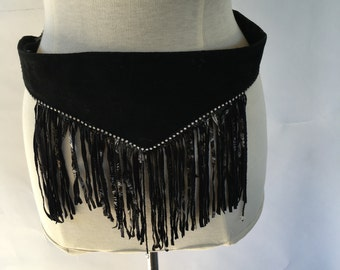 black leather and rhinestones festival belt wide 80s vintage suede fringe western boho sash 30 inch waist costume cosplay