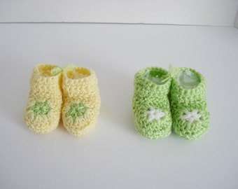 Preemie Premature Very Little Small Baby Infant Crochet Light Yellow Lime Green Star Booties Set of 2 Great for Preemie Twins Gender Neutral