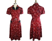 1950s Cotton Lace Print Day Dress Large