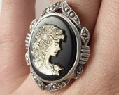 Vintage Mother of Pearl Cameo Ring, Size 5.5, Goth, Victorian, Onyx, Female Ring, Portrait, Antique, Stunning, Sterling Silver