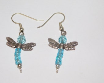 Vintage Firefly Glass beaded Dangle Earrings