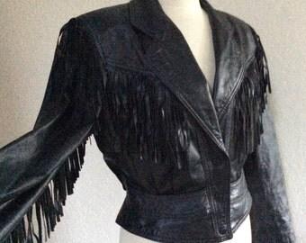Vintage Black Leather Fringe Sleeves Motorcycle Jacket Women's Medium