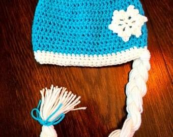 Girls Frozen Elsa Hat, Crochet Frozen Hat, Girls Elsa Hat, Girls Frozen Costume