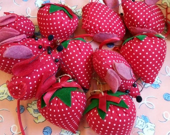 Polka dot strawberries and mice ornaments
