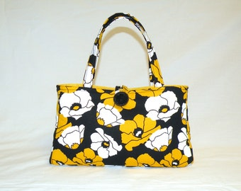 Weekend Fun Bag with Gold/Yellow and White Poppies on Black Background