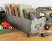 """Industrial Tall Card File Drawer with Movable Divider """"Ripe for Re-Purpose"""""""