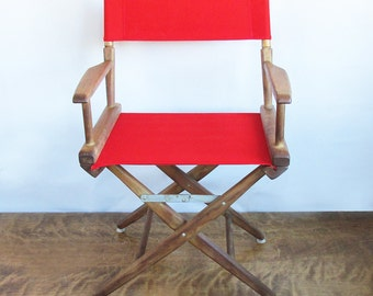 Mid Century Telescope Canvas Directors Chair - Red