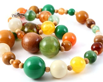 BUBBLE NECKLACE RETRO Wooden Plastic Statement Single Strand Beaded Jewelry