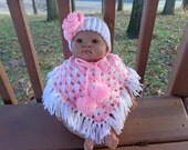 Baby Poncho in White and Pink with Matching Headband for 0-3 Month Baby Girl or Reborn Doll