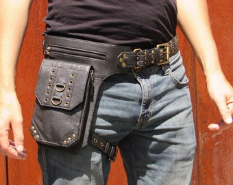 Leather Leg Holster Thigh Bag Utility Belt Steampunk Festival  BeltBag with Pockets in Black HB33a * Free Shipping*
