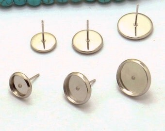 100 Earring Posts- Stainless Steel 6mm/ 8mm/ 10mm/ 12mm/ 14mm/ 16mm/ 18mm/ 20mm Round Bezel Setting Ear Studs Wholesale Jewelry Findings