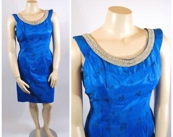 50s 60s Volup Blue Brocade Cocktail Dress - Plus size Vintage - Jewel Tone Blue - Rhinestone Dress