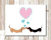 Dachshund Valentine Card Set