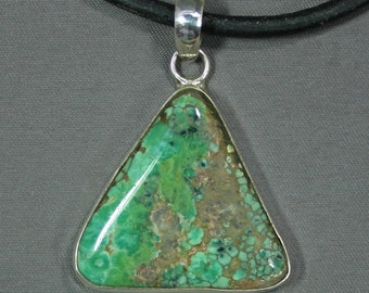 Turquoise and sterling Candelaria mine pendant,  JS-pd-028