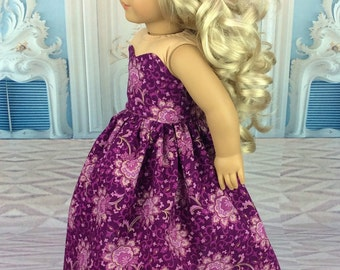 18 inch doll dress Plum ball gown fits american girl size doll