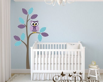 Reusable Fabric Wall Decal, Tree, Owl, Polka Dots Pattern Leaves,  Removable, Reusable and Repositionable fabric nursery decal