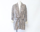Vintage 80s Leopard Print  Slouchy Blouse/Blazer/Duster with built in waist tie Size Large