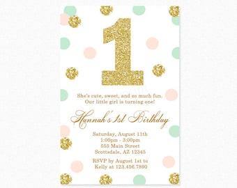 Mint Green, Peach Pink, Gold Polka Dot Birthday Party Invitation, Gold Glitter, Polka Dots, 1st Birthday, Girl, Printable or Printed