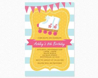 Roller Skating Birthday Party Invitation, Girl Skater, Blue, Pink, White, Personalized Printable Invitation