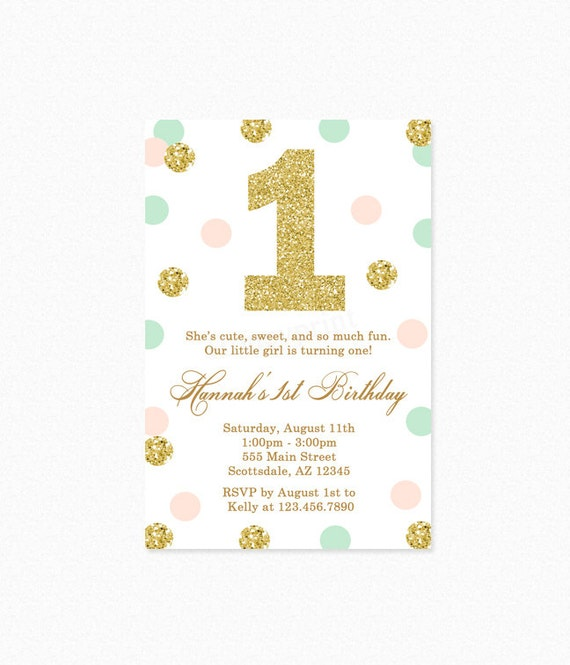 First Birthday Party In A Box In Gold Mint And Pink: Mint Green, Peach Pink, Gold Polka Dot Birthday Party