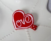 Love Heart Valentine's Day Hair Clip for Girls- Red Valentines Bow- Embroidered Felt Heart Clip- Toddlers, Preschool Girls